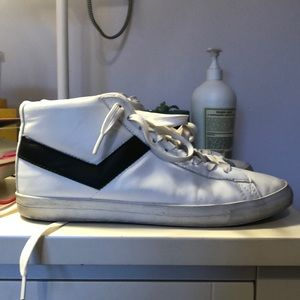 pony white leather sneakers with black detailing